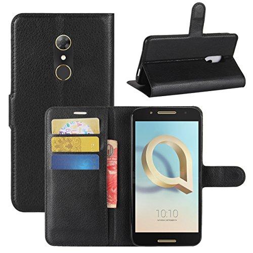 HualuBro Alcatel A7 Hülle, [All Aro& Schutz] Premium PU Leder Leather Wallet Handy Tasche Schutzhülle Hülle Flip Cover mit Karten Slot für Alcatel A7 Smartphone (Schwarz)