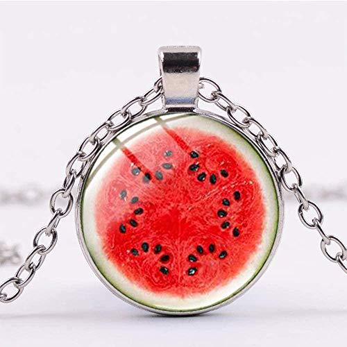 Liuqingzhou Co.,ltd Collar de Fruta Realista Collar con Colgante de cúpula de Cristal Transparente para Mujeres y niñas joyería Diaria