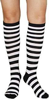 Girls Women Colorful Striped Rainbow Soccer Costume Novelty Knee High Socks