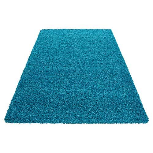 Teppich Hochflor Shaggy Teppich Unicolor einfarbig Teppich farbecht Pflegeleicht, Maße:60 cm x 110 cm, Farbe:Türkis