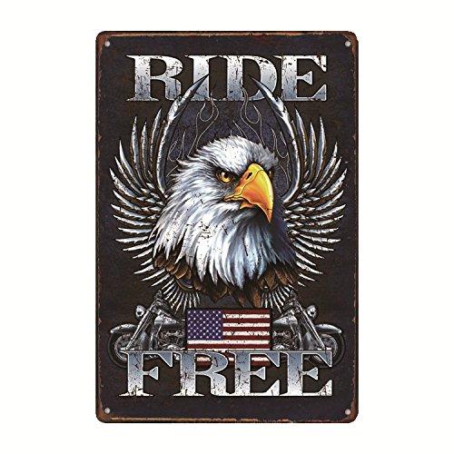 Legend Ride Free American Bald Eagle USA Flag Distress Look Metal Garage Tin Sign 12' x 8'