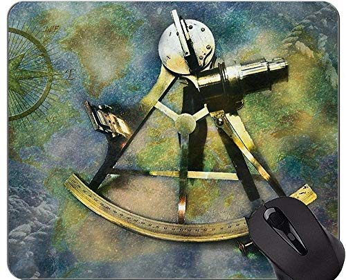 Karten-Mausunterlagen Besonders angefertigt, antike alte Oldstyle Wind-Rosen-Kompass-Sextant-Mausunterlage mit genähtem Rand