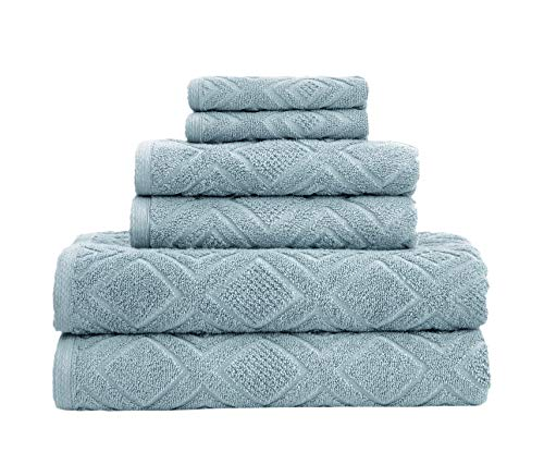 Classic Turkish Towels Luxury 6 Piece Cotton Bath Towel Set - Jacquard Woven Soft Textured Towels Made with 100% Turkish Cotton (Sea Grass)