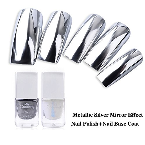 Lookathot Silver Metallic Mirror Effect Nail Polish with Nail Base Coat 7ML/0.25Fl Oz