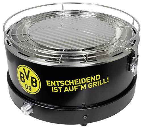 Trendyshop365 BVB Fanartikel Holzkohle-Grill mit Aktivlüftung Tischgrill Reisegrill Campinggrill