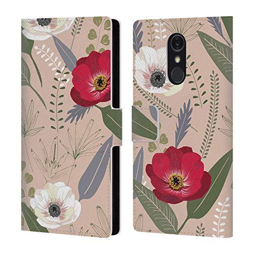 Head Case Designs Offizielle Anis Illustration Rot Und Weiss Blumige Muster 1 Leder Brieftaschen Huelle kompatibel mit LG Q Stylus/Q Stylo 4