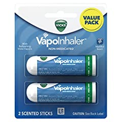 Breathe easy with Vicks inhaler On-the-go. Convenient nasal inhalers are easy to carry and can be used almost anywhere. Vicks Vapors. Enjoy the scent of refreshing Vicks Vapors. From the makers of Vicks. For adults. Not recommended for use by childre...