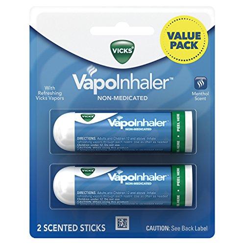 Vicks VapoInhaler, Portable Nasal Inhaler, Non-Medicated, Soothing Vapors to Breathe Easy, Menthol Scent, 2 Inhalers