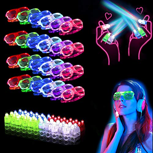 70 PCS LED Light Up Toys Party Favors with 30 Glow Flashing Glasses Shutter Shades, 40 Finger Lights...
