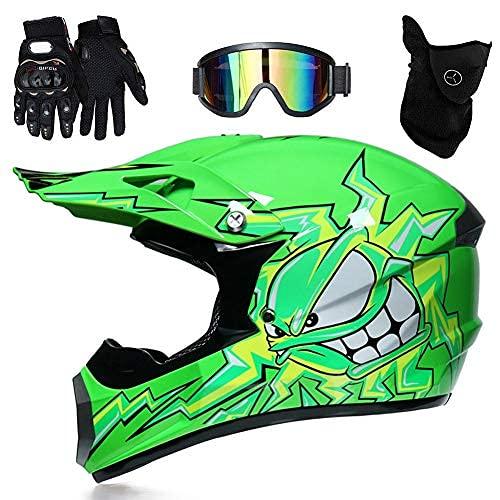 Youth Kids Helmet Offroad Gear Combo Mask Goggles Gloves Octopus Print Pattern,Adult Motocross Motorcycle Helmet Mountain Bike Helmet Gift for Boy Girl