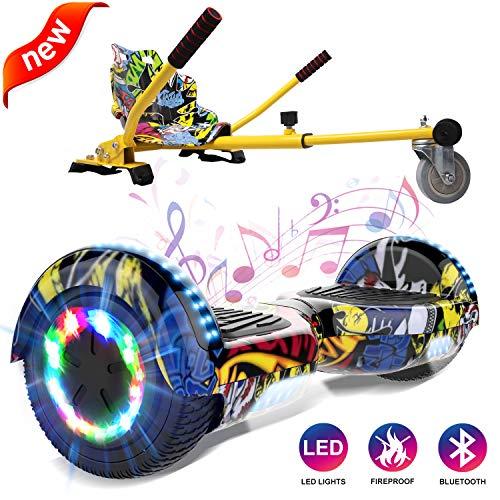 GeekMe Self Balance Elektro Scooter mit Hoverkart, Elektroroller mit Hoverboard, Balance Board + Go-Kart 6,5 Zoll mit Bluetooth-Lautsprecher, LED-Leuchten, Geschenk für Kinder, Jugendliche, Erwachsene