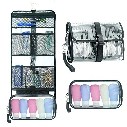 Hanging Toiletry Bag TSA Approved Clear Toiletry Bag for Women and Men 2 in 1 Removable TSA Liquids Travel Bag Waterproof Carry On Airline 3-1-1 Compliant Bag Quart Sized Luggage Pouch (Clear)