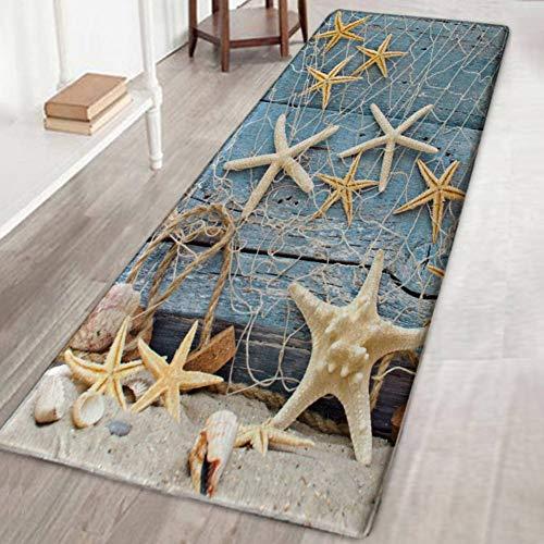 Bornbayb 3D Starfish Board Tappetini da Bagno e tappeti, Tessuto Flanella Tappeto Antiscivolo in Gomma Tappeto da Bagno Tappeto Decorativo Tappeto Lavabile per Aree 40x120cm