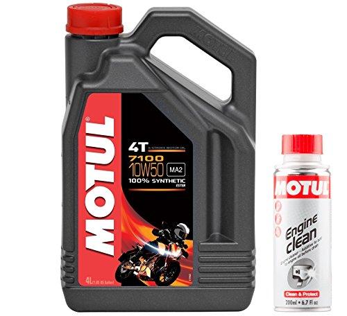 Motul Duo Aceite Moto 7100 4T 10W-50 4 litros + Engine Clean 200 ml