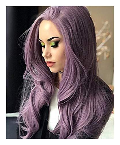 Volume Perruques européens et américains Cheveux longs Big Wave Fluffy longs cheveux bouclés Harajuku perruque rose Set (Color : Purple)