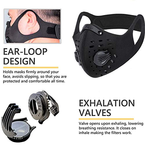PISIQI Dust Mouth Face Cover Half Face Sports Face Protections Anti Dust Face Mouth Riding Cover with Valve Reusable Breathing Lightweight Face Shield Outdoor Facial for Men and Women