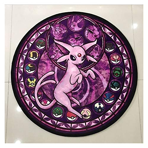 YSDSPTG Alfombra Redonda Animal Suelo Alfombra Juego Lindo de Dibujos Animados de la Alfombra Suave y Redondo Niños Mat Antideslizante Cojín for Sala de Estar Dormitorio (Color : Purple, Size : 60CM)