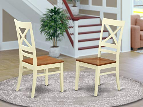 East West Furniture QUC WHI W Quincy dining room chairs Wooden Seat and Buttermilk Solid wood Structure dining chair set of 2