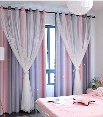 """Yancorp 84 inch Length Room Darkening Blackout Pink Grey Rainbow Curtains for Girls Bedroom Kids Room Ombre Window Panels Living Room(Pink Grey, W52 X 84"""")"""