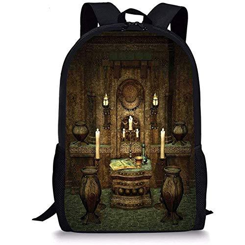 Hui-Shop Schultaschen g-othic, EIN Raum mit Altar im Fantasy-Stil Zauber Spiritualität Pentagramm Symbole und Kerzen, Braun für Jungen Mädchen