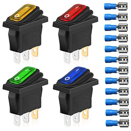 Gebildet 4pcs Interruptores de Palanca Basculantes Impermeables KCD3 12V-24VDC/20A con Indicador LED, Interruptor de Enchufe Triangular de Encendido y Apagado SPST de 3Pin(12pcs Conectores de Cable)