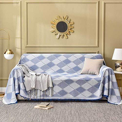 YSODFQL Copridivano multifunzionale in stile nordico copridivano in cotone intrecciato copridivano completo copridivano completo antipolvere divano/Elegant blue / 90 * 90cm