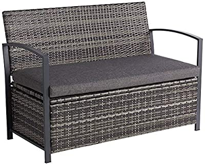 "Teal Island Designs Wicker 47 1/2"" Wide Bronze Outdoor Storage Bench"