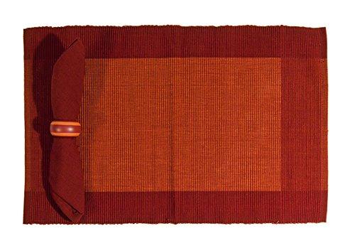 PARIGIANI Set 4 Pz. Tovagliette Americane In Cotone 50X33 Color Rosso Con Bordo A Contrasto