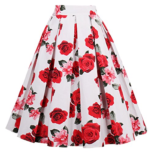 Dressever Women's Vintage A-line Printed Pleated Flared Midi Skirts White-Rose XX Large