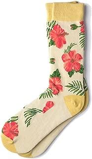 Men's Tropical Island Hibiscus Floral Flowers Crew Dress Socks