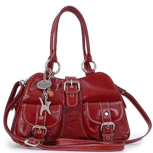 Catwalk Collection Handbags - Leder - Umhängetasche/Henkeltasche - Handtasche mit Schultergurt/Schultertasche - FAITH - Rot