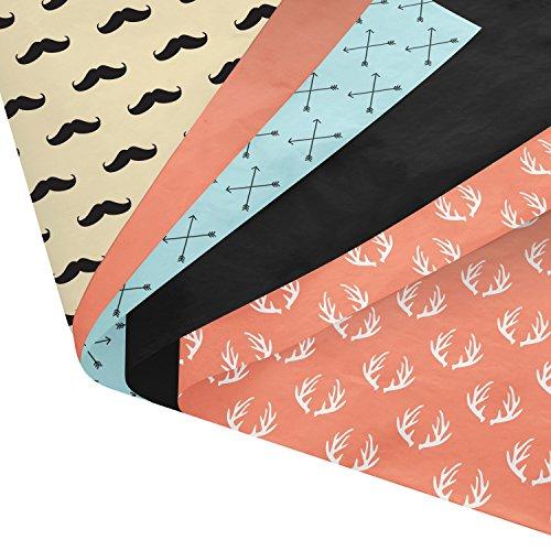 Geschenkpapier-Set mit Schnurrbärten, Pfeilen, Geweih, 120 Blatt – 35,6 x 50,8 cm – gemustert und einfarbig