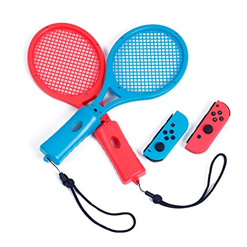 Tennis Racket for Nintendo Switch Mario Tennis Aces, Tennis Racket for Nintendo Switch Joy-Con Controller - Blue and Red