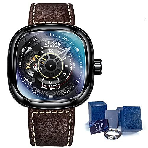 XYQC Reloj mecánico automático para Hombre, Cuadrado Hueco, para entornos Casuales y Ocasiones de Negocios con Caja de Regalo,A