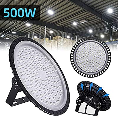 500W UFO LED High Bay Light lamp Factory Warehouse Industrial Lighting 50000 Lumen 6000-6500K IP65 Warehouse LED Lights- High Bay LED Lights- Commercial Bay Lighting for Garage Factory Gym