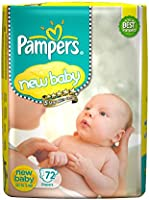 Pampers Active Baby Diapers, New Born, Extra Small, (NB, XS) size, 72 Count, Taped style diaper