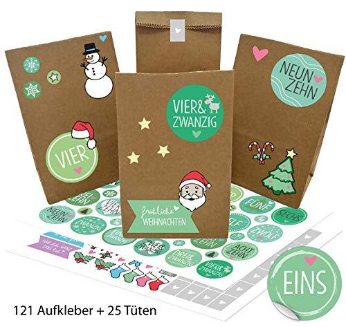 OWLBOOK Adventskalender zum Befüllen Weihnachtskalender selber basteln für Kinder Mädchen Jungen - mit 121 Aufkleber und 25 Tüten zu Weihnachten 2020 mit Grünen Wort-Zahlen