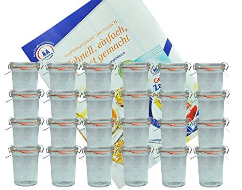 MamboCat 24er Set Weckgläser 160 ml Sturzglas mit Deckel Einkochring Klammern I Original Weck Sturzgläser I Einweckgläser für Kuchen Gelees UVM I inkl. Diamant-Zucker Gelierzauber Rezeptheft