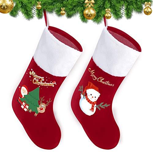 Zozgetu Weihnachtsstrumpf, Rot Nikolausstiefel Christmas decotation Weihnachtsstrumpf zum Befüllen und Aufhängen Christbaumschmuck Anhänger Christmas Sock [2 Stück]