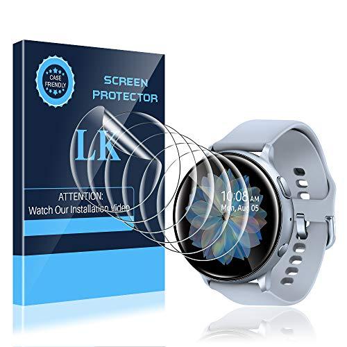 LK 6 Stück Schutzfolie kompatibel mit Samsung Galaxy Watch Active 2 44mm Folie, Kompatibel mit Hülle Blasenfreie Klar HD Weich TPU Schutzfolie