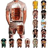 DressLksnf Jogginganzug Herren Sommer Tshirt Herren Set + Jogginghose Herren 3D Bier Druck...