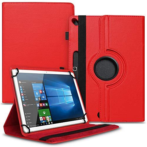 Tasche Hülle kompatibel für Archos 101b Oxygen Tablet Cover Schutz Hülle Schutzhülle 360° Drehbar, Farbe:Rot