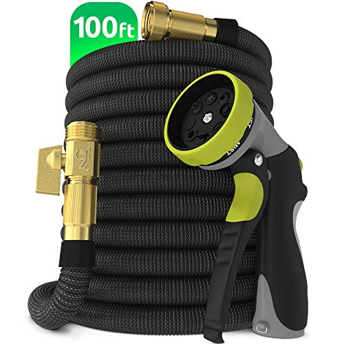 Nifty Grower 100ft Garden Hose - All New Expandable Water Hose with Double Latex Core, 3/4' Solid Brass Fittings, Extra Strength Fabric - Flexible Expanding Hose with Metal 8 Function Spray Nozzle