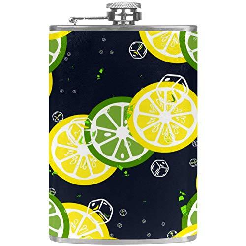 TIZORAX Lemon Lime Scheiben und Eiswürfel Edelstahl Flachmann Pocket Wine Flagon Becher mit Lederbezug für Männer Frauen 227ml