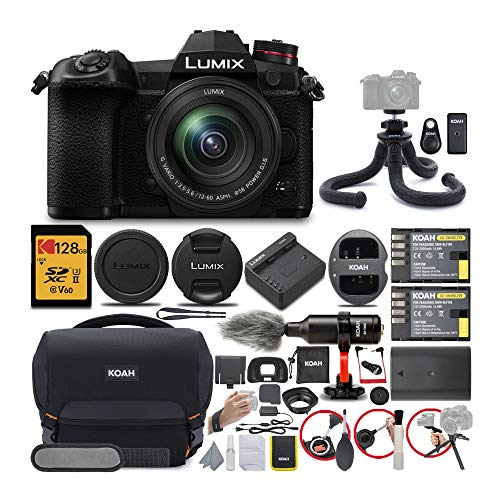 Panasonic LUMIX G9 Mirrorless Camera with LUMIX G Vario 12-60mm Lens with 128GB UHS-II V60 SD Card and KOAH Pro...