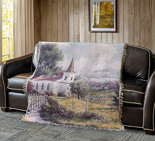 Inspirational Tapestry Throw Blanket by Virah Bella - 50' x 60' Blessed are Those Who Mourn Matthew 5:4 Fringed Woven Tapestry Throw - Cozy & Beautiful Religious-Themed Blanket