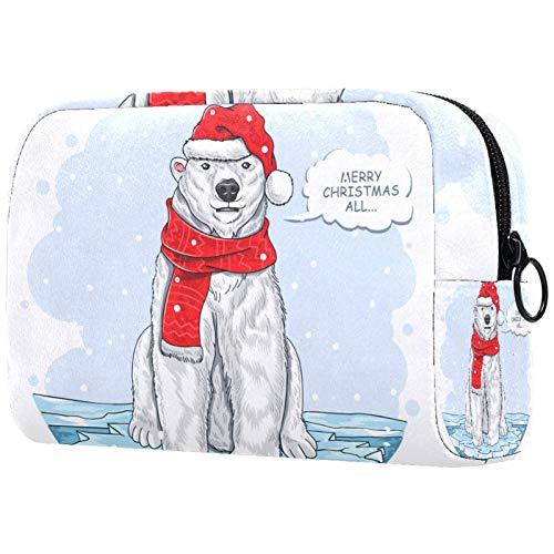 Neceser de Maquillaje para Mujer Monedero Cosmético Kit de Viaje Organizador Oso Polar Santa Claus
