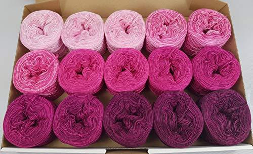 LiLu´s Märchengarne (69,00€/kg) Bobbel Farbverlaufsgarn Candy Box - Himbeer Sahne Bonbon 1900m 4Fädig Wolle