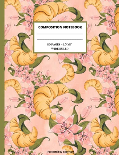 """French Breakfast Composition Notebook: Bakery Wide Ruled Paper Notebook Journal: Workbook for Girls Kids Teens Student for back to School and Home ... College Copy Book   Soft Cover   8,5"""" x11"""""""
