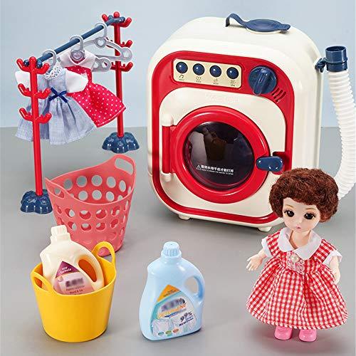 HnF Lavadora electrónica de Juguete, Aparato de Juego de simulación Realista para niños, Lavadora de Juguete interactiva con Accesorios de lavandería
